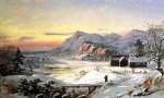winter original paintings - winter scene north conway new hampshire by jasper francis cropsey