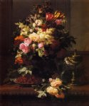 jean baptiste robie a still life of roses tulips and other flowers on a german compote a plate of raspberries a glass and a german silver painting