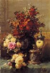 still life of roses and other flowers a silver by jean baptiste robie painting