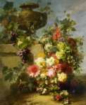 still life of roses morning glories chrysanthemums forget by jean baptiste robie painting
