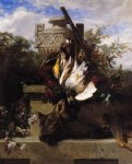 still life with game and a rifle on a marble ledge with an urn in a flowery landscape by jean baptiste robie painting