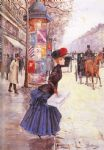 jean beraud original paintings - jeune femme traversant le boulevard by jean beraud