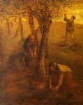 jean francois millet watercolor paintings - gathering apples by jean francois millet