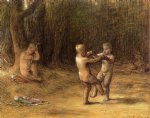 jean francois millet watercolor paintings - la danse des amours by jean francois millet