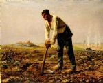 jean francois millet watercolor paintings - man with a hoe by jean francois millet