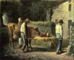 jean francois millet watercolor paintings - peasants bringing home a calf born in the fields by jean francois millet