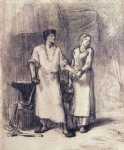 jean francois millet watercolor paintings - the blacksmith and his bride by jean francois millet