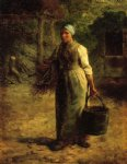 jean francois millet watercolor paintings - woman carrying firewood and a pail by jean francois millet