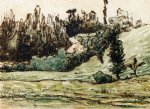 jean francois millet watercolor paintings - wooded hillside near vichy by jean francois millet