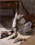 still life with heron by jean frederic bazille painting