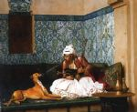 jean leon gerome arnaut blowing smoke at the nose of his dog painting