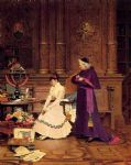 jehan georges vibert watercolor paintings - the reprimand by jehan georges vibert