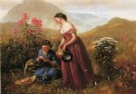 jerome thompson famous paintings - gathering wildflowers by jerome thompson