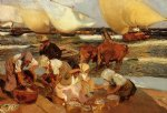 sorolla art - beach at valencia by joaquin sorolla y bastida