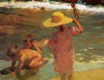 sorolla art - children on the seashore by joaquin sorolla y bastida