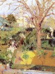winter original paintings - gardens of the alc锟絲ar of seville in wintertime by joaquin sorolla y bastida