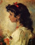 italian artwork - head of an italian girl by joaquin sorolla y bastida