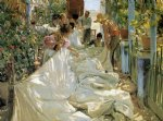 joaquin sorolla y bastida acrylic paintings - mending the sail ii by joaquin sorolla y bastida
