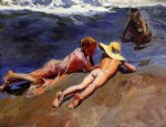joaquin sorolla y bastida on the sand valencia beach painting