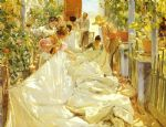 joaquin sorolla y bastida acrylic paintings - sewing the sail by joaquin sorolla y bastida