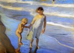 joaquin sorolla y bastida valencia two little girls on a beach paintings-31200