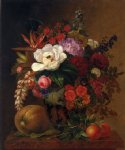 johan laurentz jensen acrylic paintings - exotic blooms in a grecian urn with fruit on a marble ledge by johan laurentz jensen