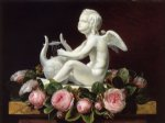 johan laurentz jensen acrylic paintings - garland of pink roses around cupid playing a lyre on a brown marble ledge by johan laurentz jensen