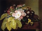 johan laurentz jensen pansies appleblossoms gloxinia phlox and primula auricula on a brown marble ledge prints