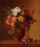 johan laurentz jensen acrylic paintings - still life with flowers in an earthenware vase by johan laurentz jensen