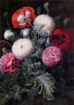 johan laurentz jensen acrylic paintings - still life with poppies and other flowers by johan laurentz jensen
