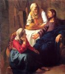 johannes vermeer art - christ in the house of mary and martha by johannes vermeer