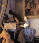 johannes vermeer art - lady seated at a virginal by johannes vermeer