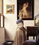 johannes vermeer art - lady standing at a virginal by johannes vermeer
