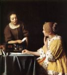 johannes vermeer acrylic paintings - lady with her maidservant holding a letter by johannes vermeer