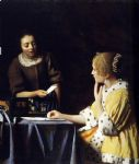 johannes vermeer art - mistress and maid by johannes vermeer