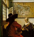 johannes vermeer art - soldier and a laughing girl by johannes vermeer