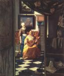 johannes vermeer watercolor paintings - the love letter by johannes vermeer