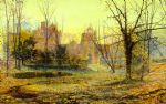 evening knostrop old hall by john atkinson grimshaw watercolor paintings