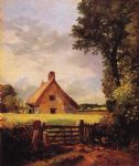 john constable art - a cottage in a cornfield by john constable