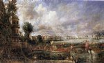 the opening of waterloo bridge seen from whitehall stairs june 18th 1817 by john constable painting