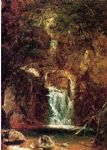 john frederick kensett famous paintings - cascade near lake george by john frederick kensett