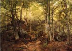 deer art - deerhunter in the woods by john george brown