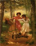 three girls on a swing by john george brown painting