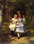 two girls on a swing by john george brown posters