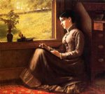 woman seated at window by john george brown posters