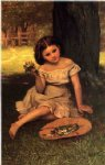 young girl with flowers by john george brown posters