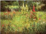 john ottis adams art - hollyhocks and poppies the hermitage by john ottis adams