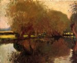 john singer sargent art - a backwater at calcot near reading by john singer sargent