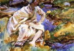 john singer sargent original paintings - a man seated by a stream val d aosta pertud by john singer sargent