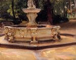 john singer sargent art - a marble fountain at aranjuez spain by john singer sargent